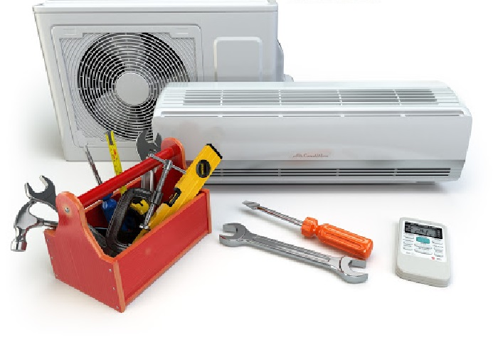 Air Conditioner With Toolbox And Tools. Repair Of Air Conditioner Concept. 3d